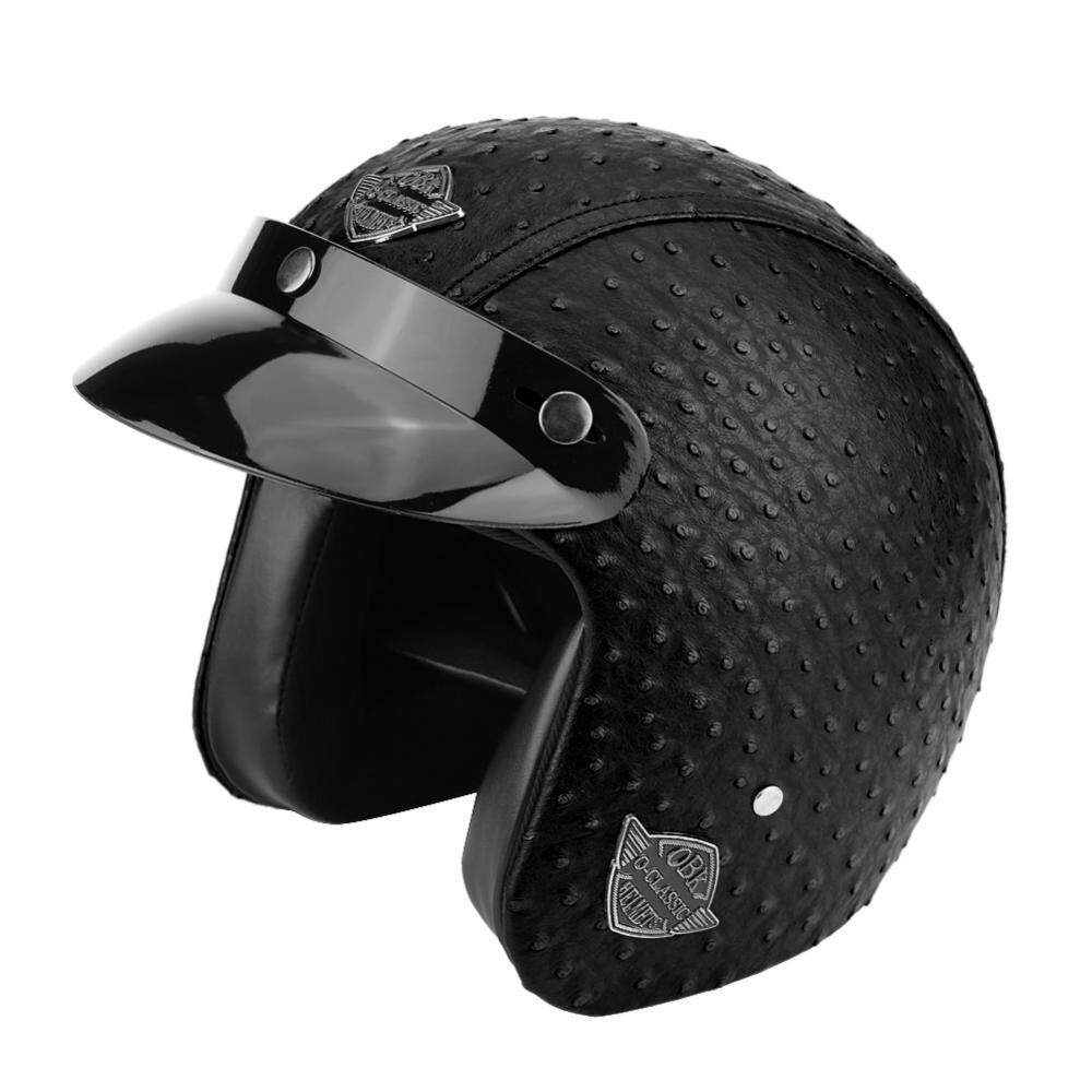Universal Motorcycle Scooter PU Leather Open Face Half Helmet (Ostrich Black XL)