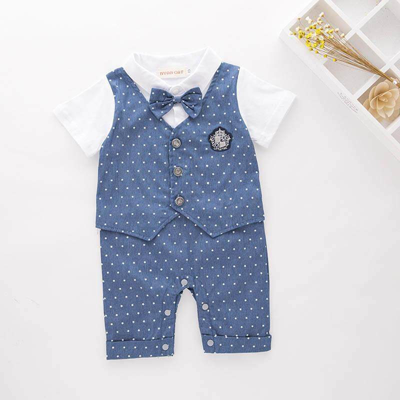 2448b5e9506 1 PCS Summer Cotton Baby Boys Gentleman Outfits Romper Bow Tie  Short-Sleeves Infant Jumpsuit British Style Bodysuit Party Costume Wedding  ...