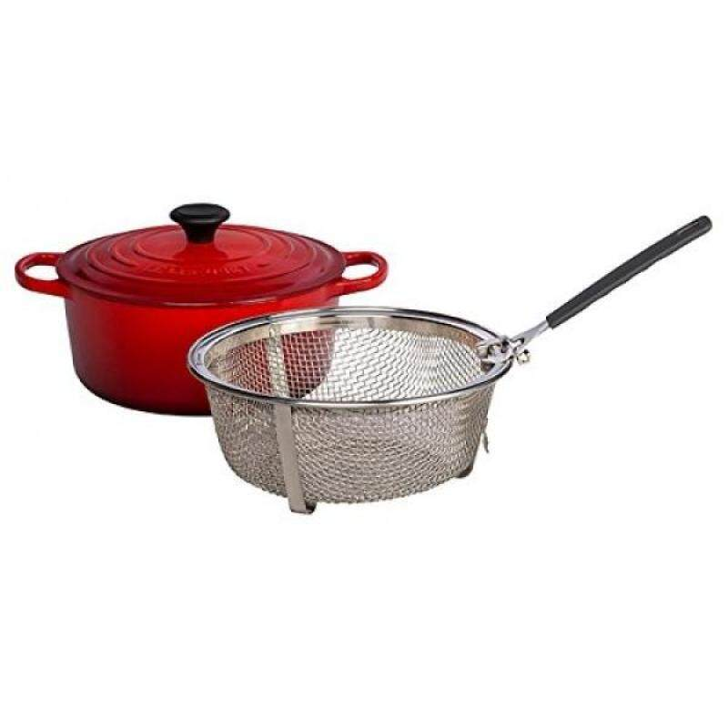 Le Creuset Signature Cherry Enameled Cast Iron 5.5 Quart Round French Oven with Stainless Steel Fry Basket Singapore