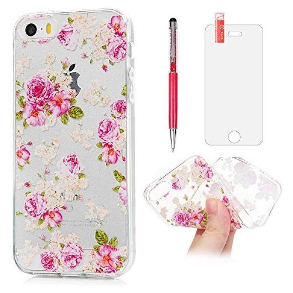 iPhone SE Case, iPhone 5 Case, iPhone 5S Case, Pink Rose Flower Green Grass Floral Cover Crystal Soft TPU Slim Fit Anti-Scratch Protective Bumper with Screen Protector Pen for iPhone 5/SE ZSTVIVA - intl