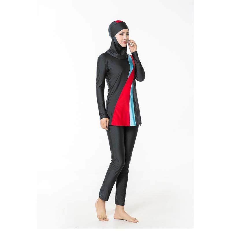 ea0364e27a24c Large Plus Size Muslim Swimsuit Women Two-pieces Swimwear With Hijab Islamic  Ladies Beachwear Swimming