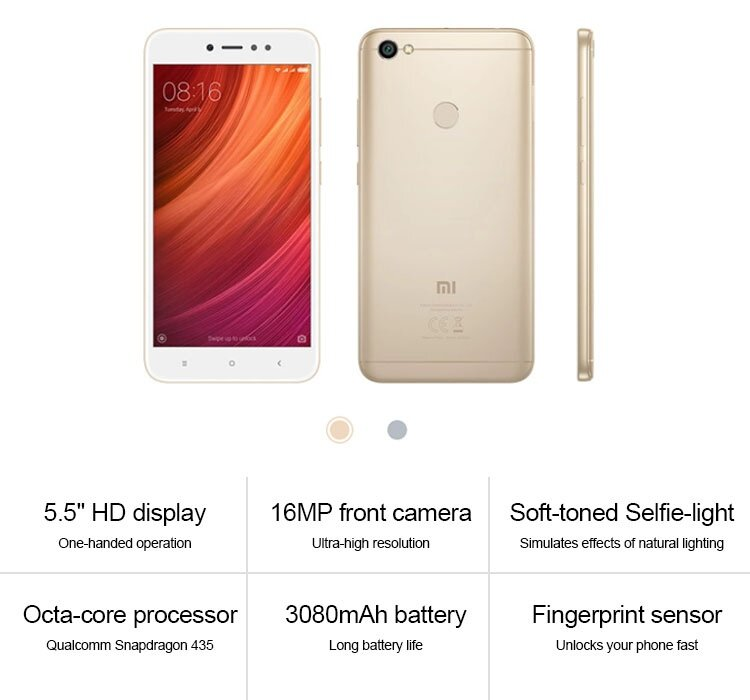 Xiaomi Redmi Note 5A Prime / Xiaomi Redmi Y1 3GB+32GB (Gold) Free Soft TPU  Case & Tempered Glass SP [ORI IMPORT] [GLOBAL ROM]