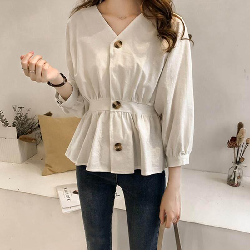 8b0c061d7eb Korean Women M-3XL Plus Size V-neck Bottoming Shirt Elegant Lantern Long  Sleeve