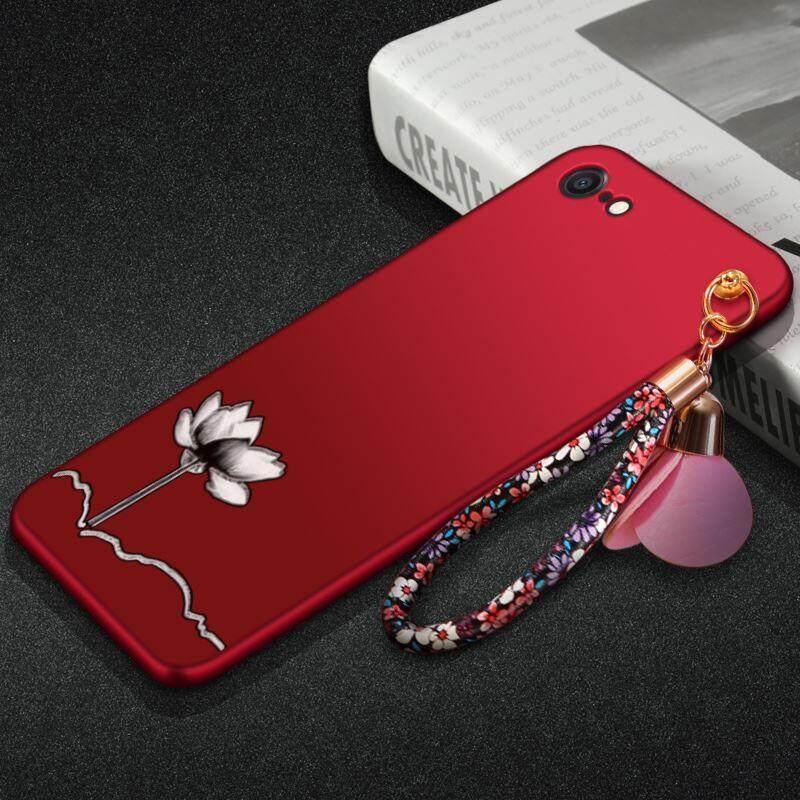 Apple 8 mobile phone shell iphone8plus protective sleeve ip8p red product eight puls drop A1864 female models(Apple 8 - red lotus flower + hand strap)