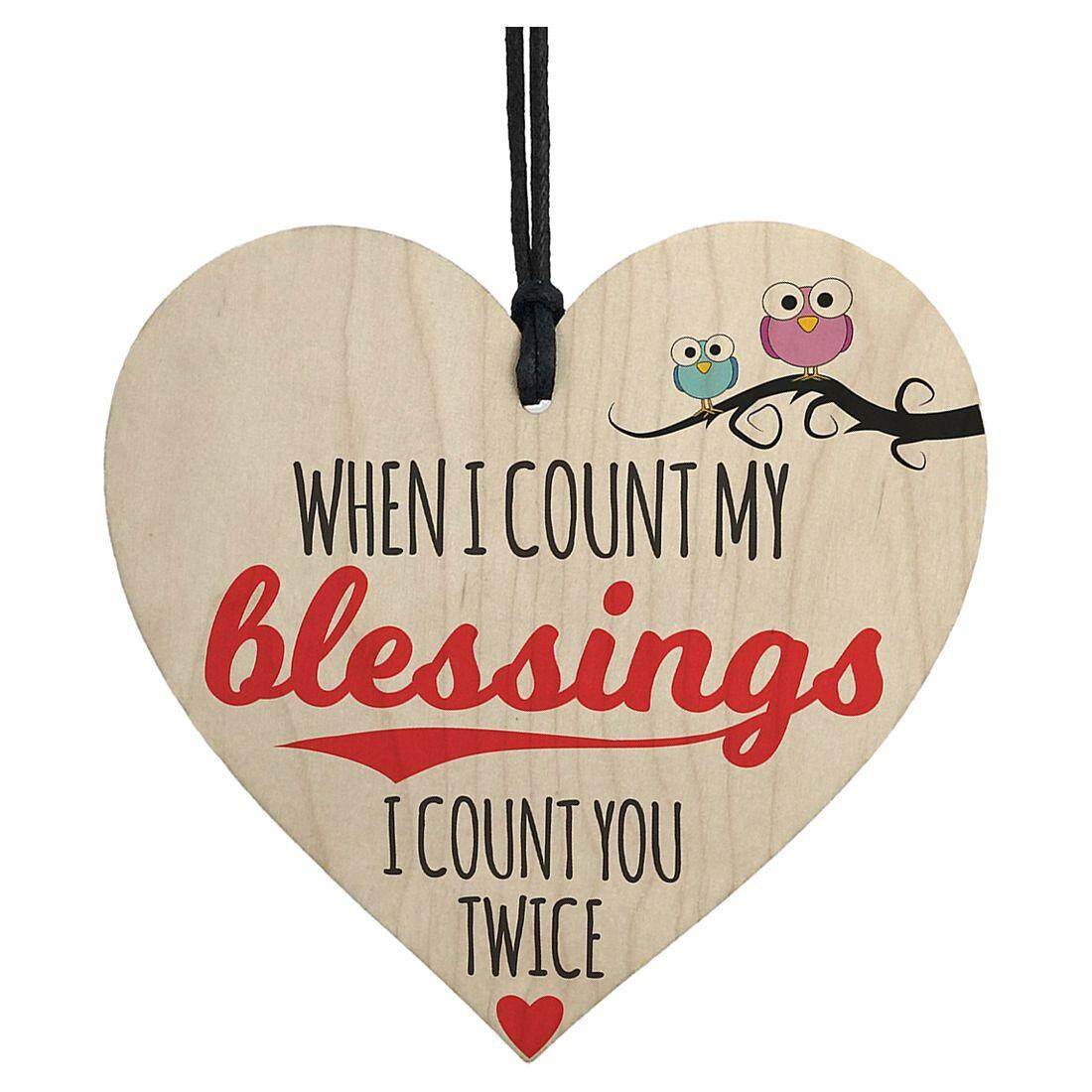Blessings Count You Twice Wooden Hanging Heart Plaque Friendship Love Gift Sign