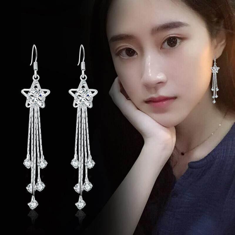 Earrings Women South Korea Elegant Long Simple S925 Fine Silver Tels Allergy Friendly Crystal Cool