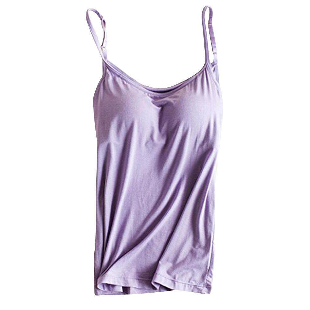 Women Modal Built-In Bra Padded Active Strap Camisole Yoga Tanks Tops By Sawu.