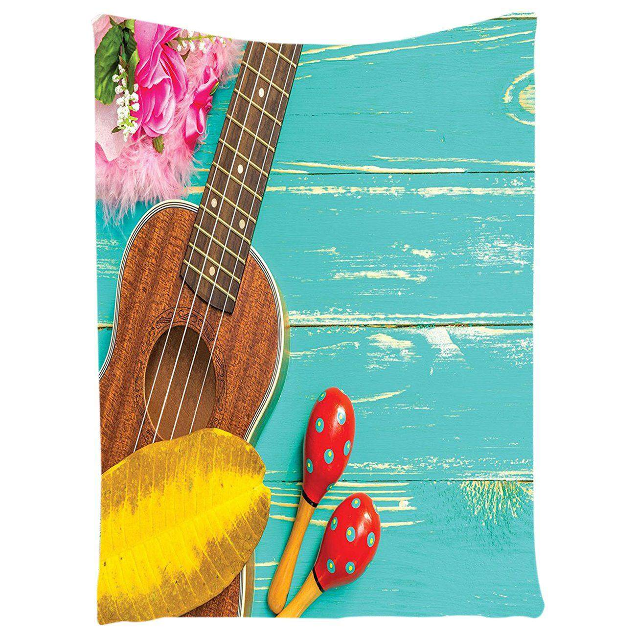 Music Decor Tapestry Ukulele With Hawaii Style Background Wooden Classical Vacation Stylized, Bedroom Living Room Dorm Decor, 100*150cm - intl