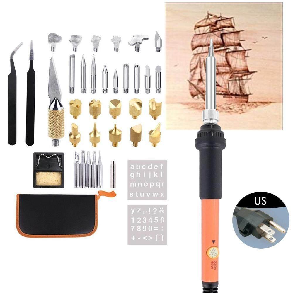 Niceeshop (AS Steker) 40 PCS Penukar Kayu Perlengkapan Elektrik Profesional Woodburning Alat Pyrography Kreatif Woodburner Set untuk Dewasa Pemula Pemula Kerajinan dengan -Internasional