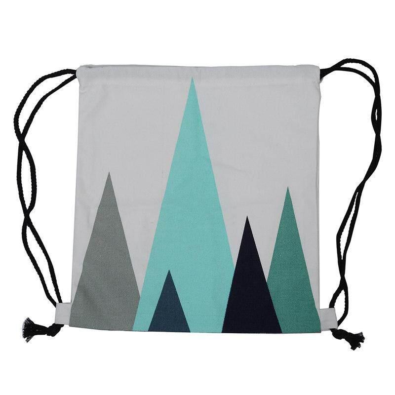 Cotton Canvas Drawstring Travel Backpack Student Book Bag Print mountain peak
