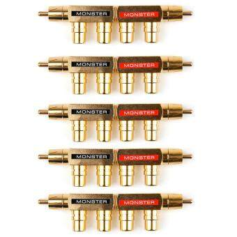 Price comparing Areyourshop 10 Pcs Brass AV Audio Splitter Plug RCA Adapter 1 Male to 2 Female Connector - intl cheapest today