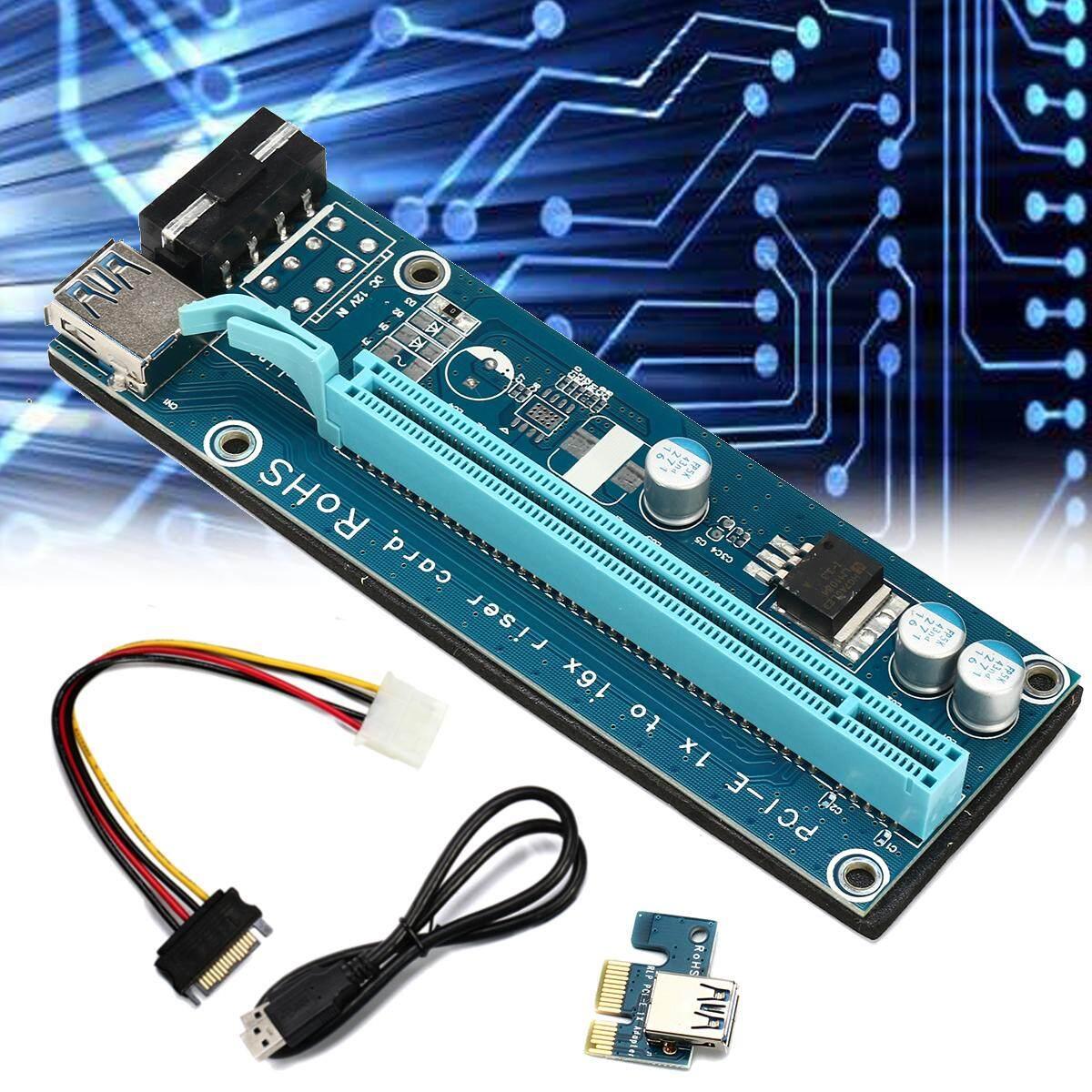 2 set 4pcs/set PCIE PCI-E Express 1x To 16x Extender Riser Card Adapter 15Pin Power USB 3.0