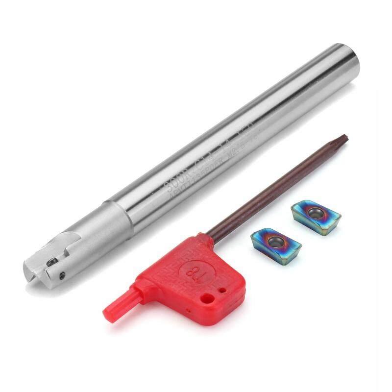 Drillpro Upgrade 300R 14mm 2 Flute Face Milling Cutter+2pcs HRC58 Blue Nano APMT1135 Carbide Insert - intl