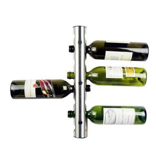 Stainless Steel Wall Mounted Wine Bottle Holder 8 Holes (SILVER)