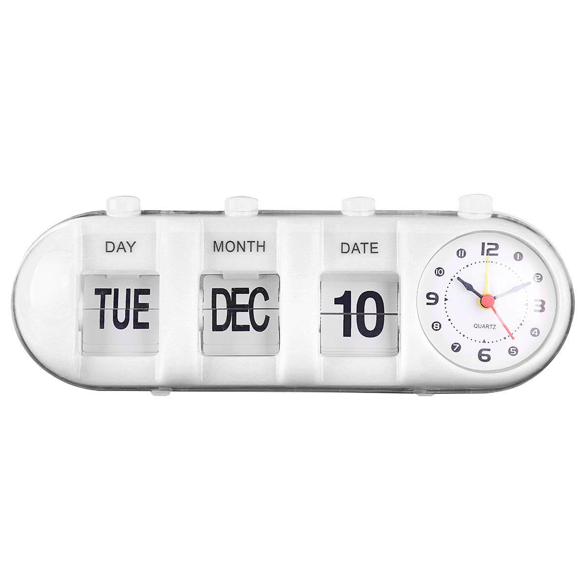 Retro Flip Digital Quartz Home Desk Alarm Clock Day Date Calendar Black White UK