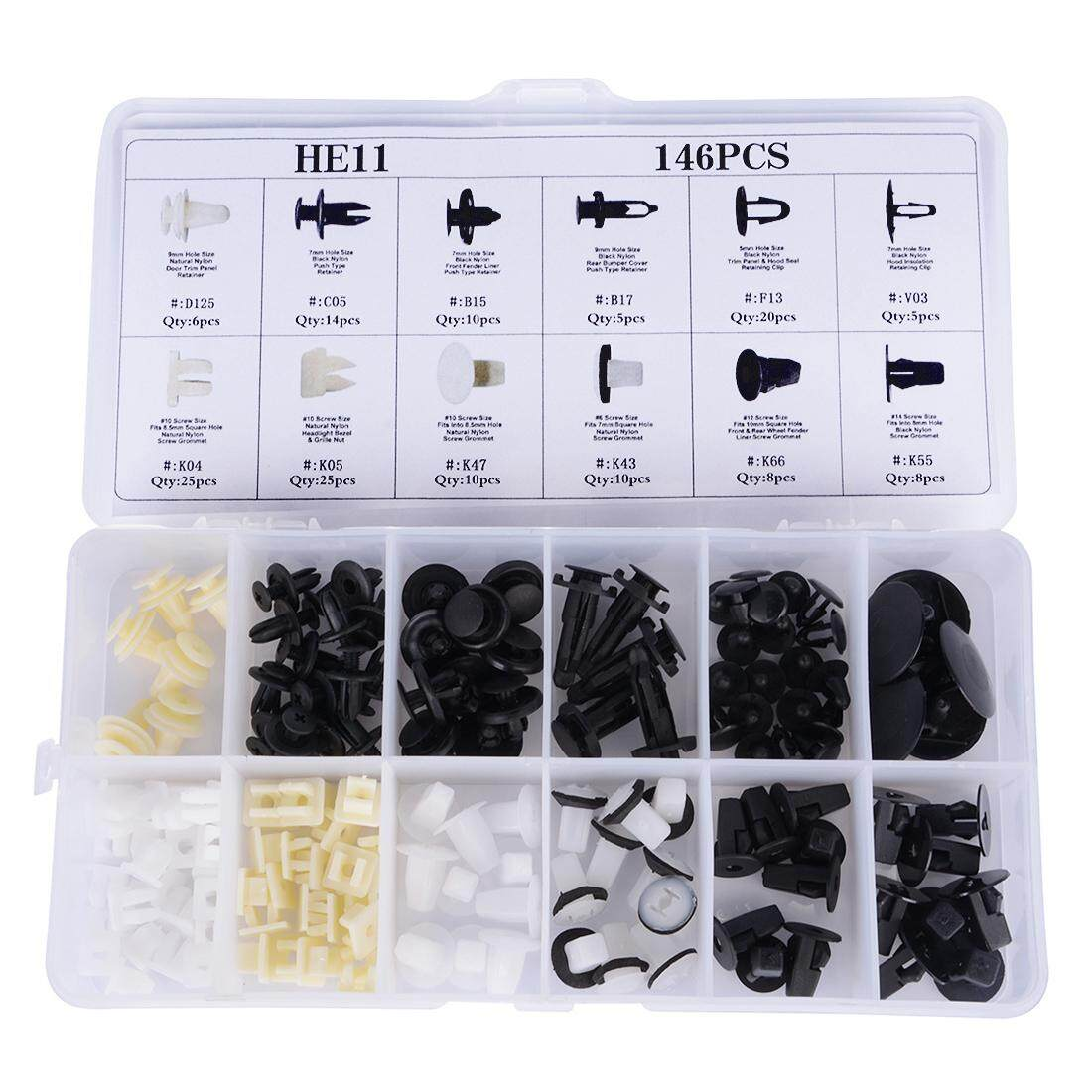 146pcs 12 Sizes Car Bumper Fastener Fixed Clamp Mixed Auto Clip Rivet Retainer Car-Styling Universal For Most Cars - Intl.