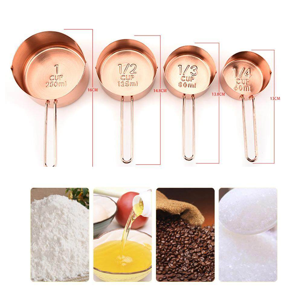 Niceeshop 4pcs/set Copper Stainless Steel Measuring Cups Kitchen Tools For Baking - Intl By Nicee Shop.