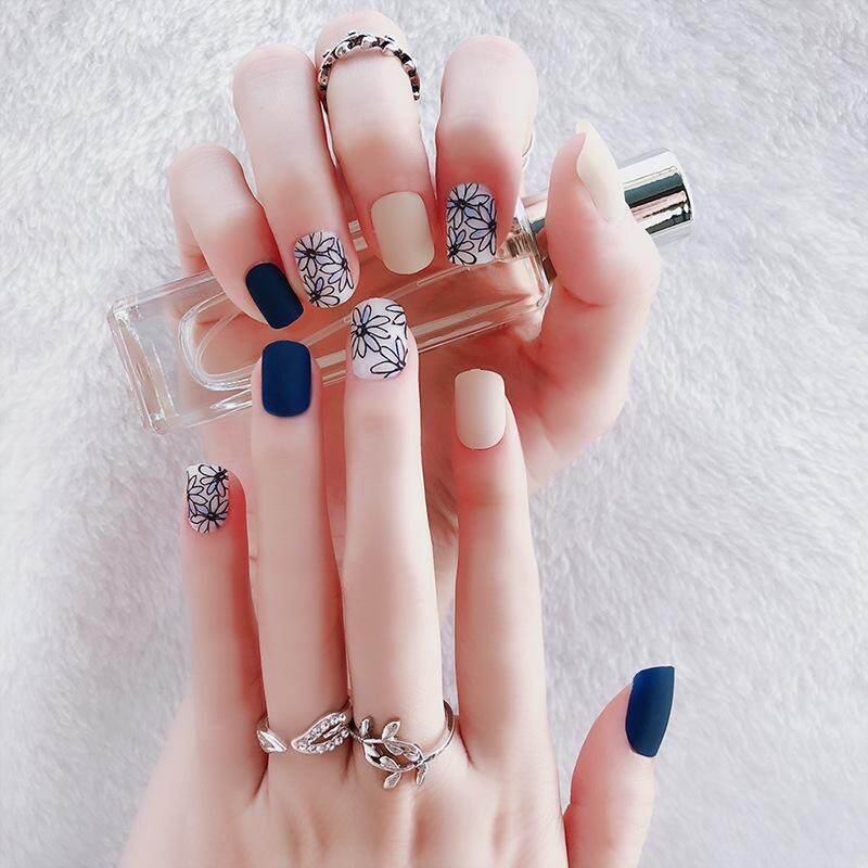Blue Flower Nail Art Short Design Full Finished False Nails Flower Pattern Blue Matte Plastic Fake Nails Faux Ongles with Glue--24pcs/Set Philippines