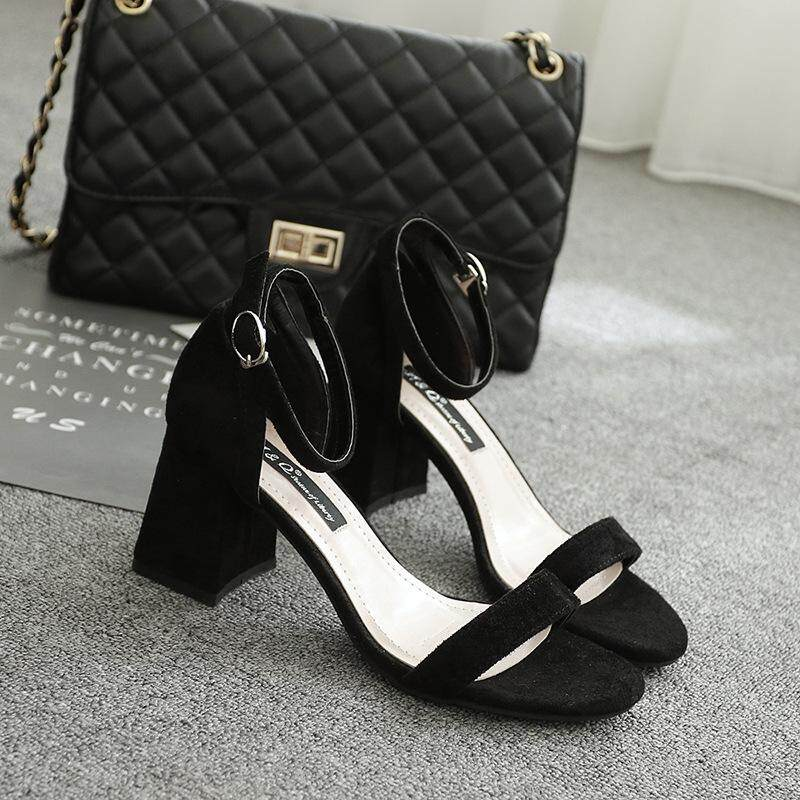 Hot Korean Version of The New Rough with High-heeled Shoes Suede Hollow Mixed Color Ladies Sandals