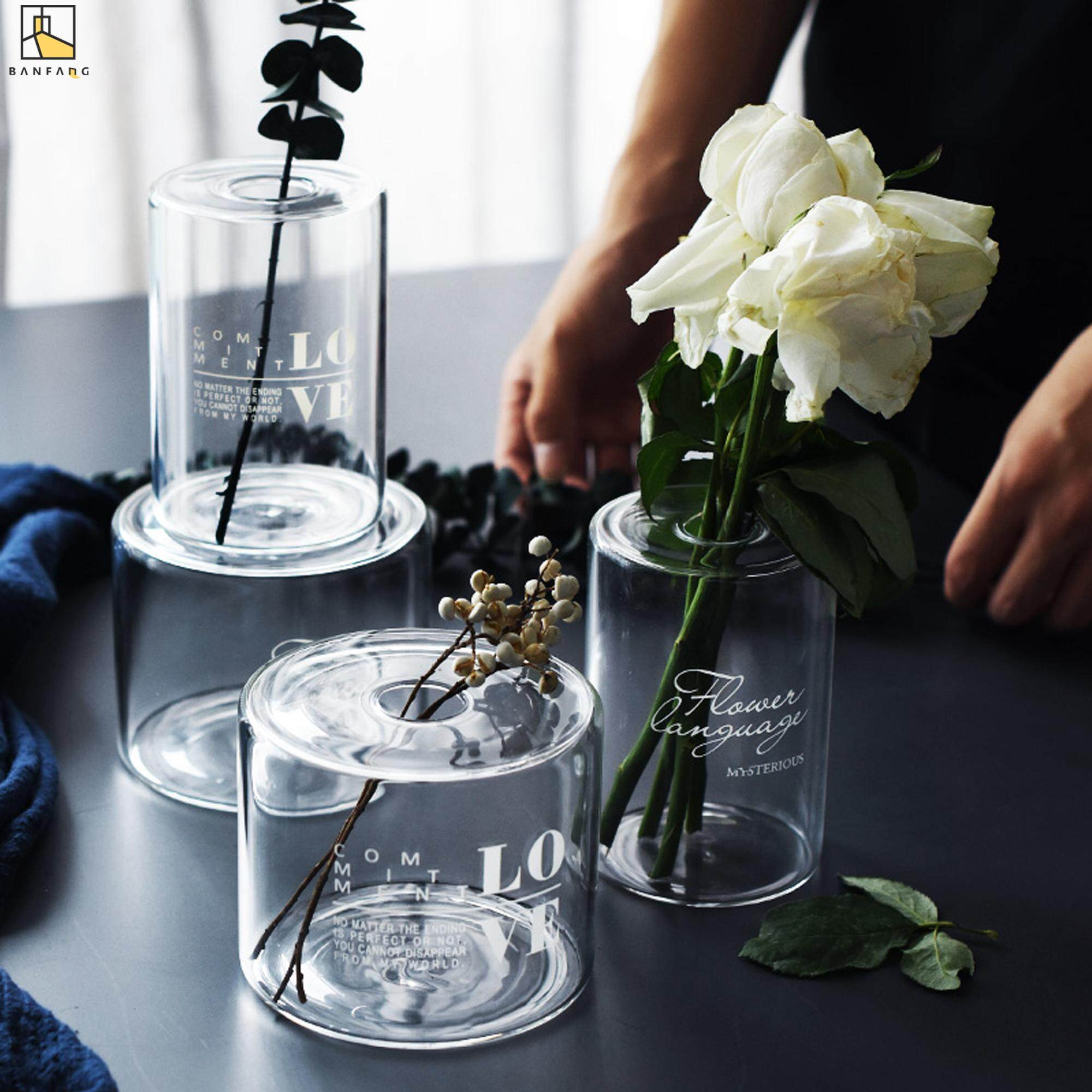 BANFANG Nordic lamp worker glass vase creative dry flower aroma bottle small mouth flower water bottle decoration decoration