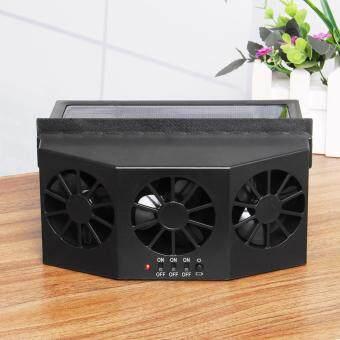 Solar Powered Car Front/Rear Window Radiator Air Vent Cool Triple Cooler Fan 4W Black - intl