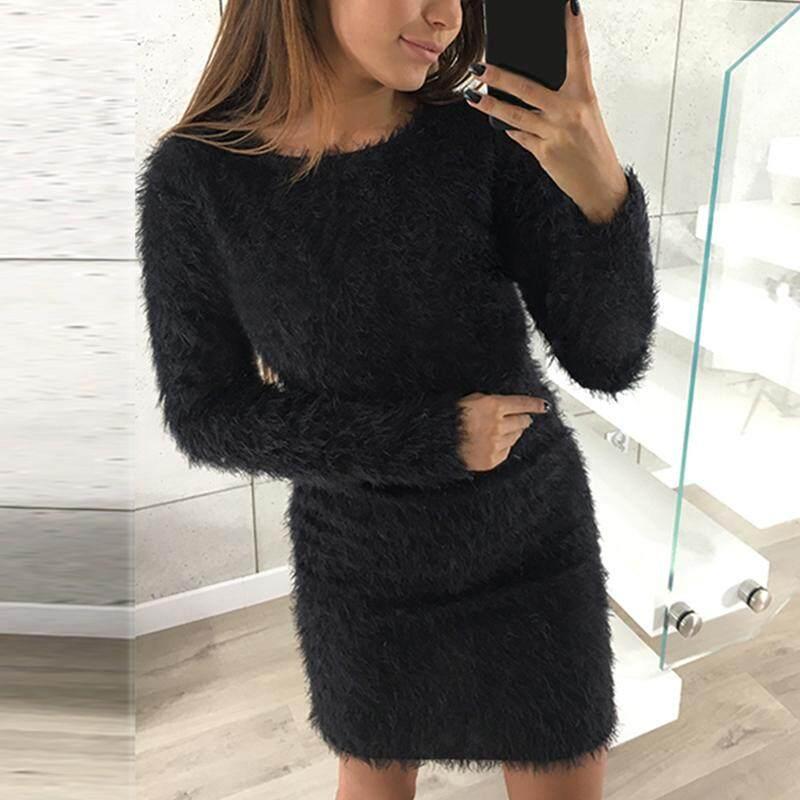 67606c82b135 9 Colors Robe Pull Femme Vestidos Sweater Dress 2018 Winter Bodycon Faux  Fur Women Clothes Long