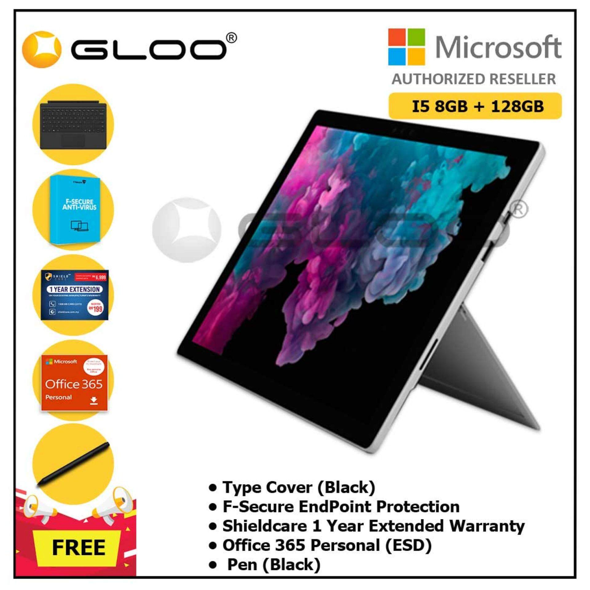 Microsoft Surface Pro 6 Core i5/8GB RAM -128GB + Type Cover Black + Office 365 Personal ESD + Shieldcare 1 Year Extended Warranty + F-Secure EndPoint Protection + Pen Black