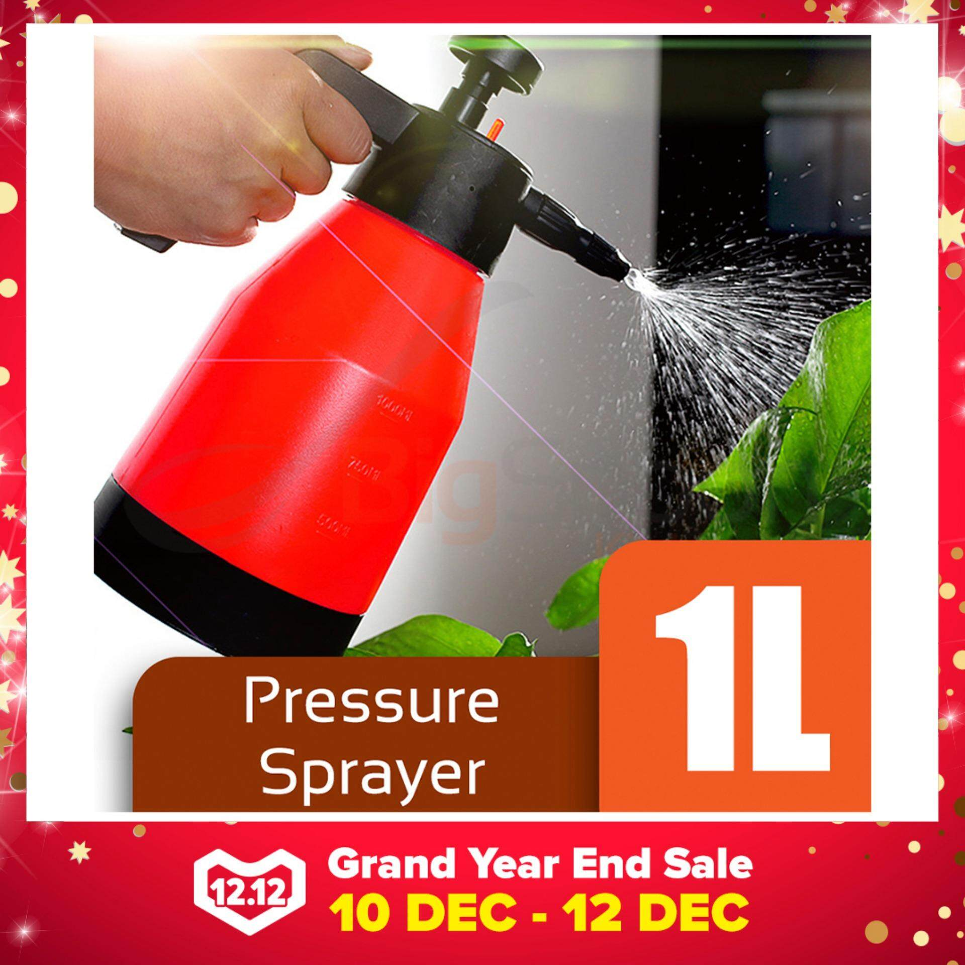 BIGSPOON Garden Pressure Sprayer 1L Hand Pump Water Chemical Handheld Spray Bottle SX-5079-10 (Red)