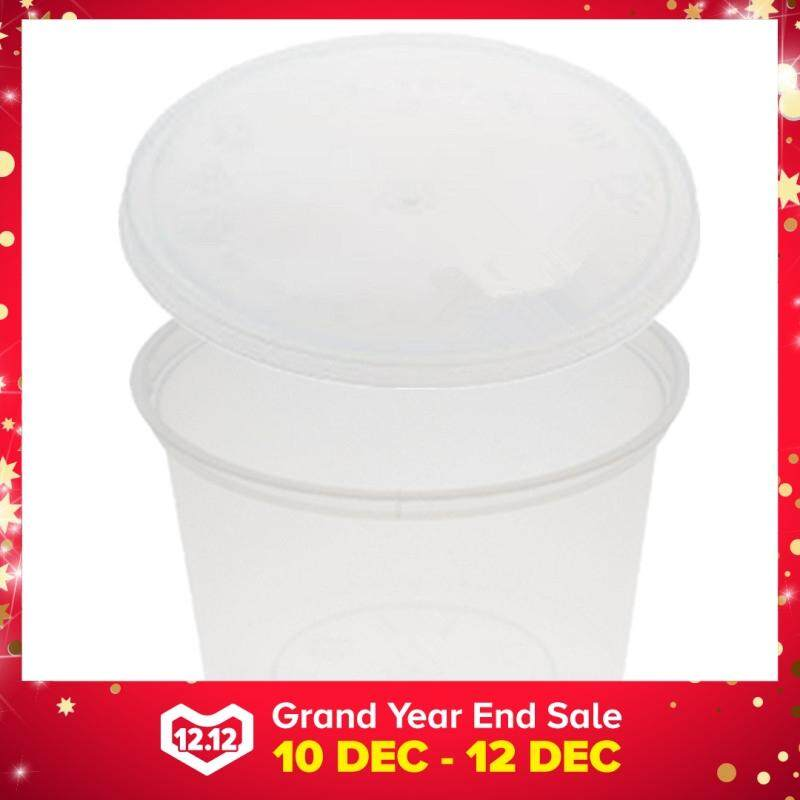 650ml PP Microwavable Round Containers With Lids Clear 10pcs