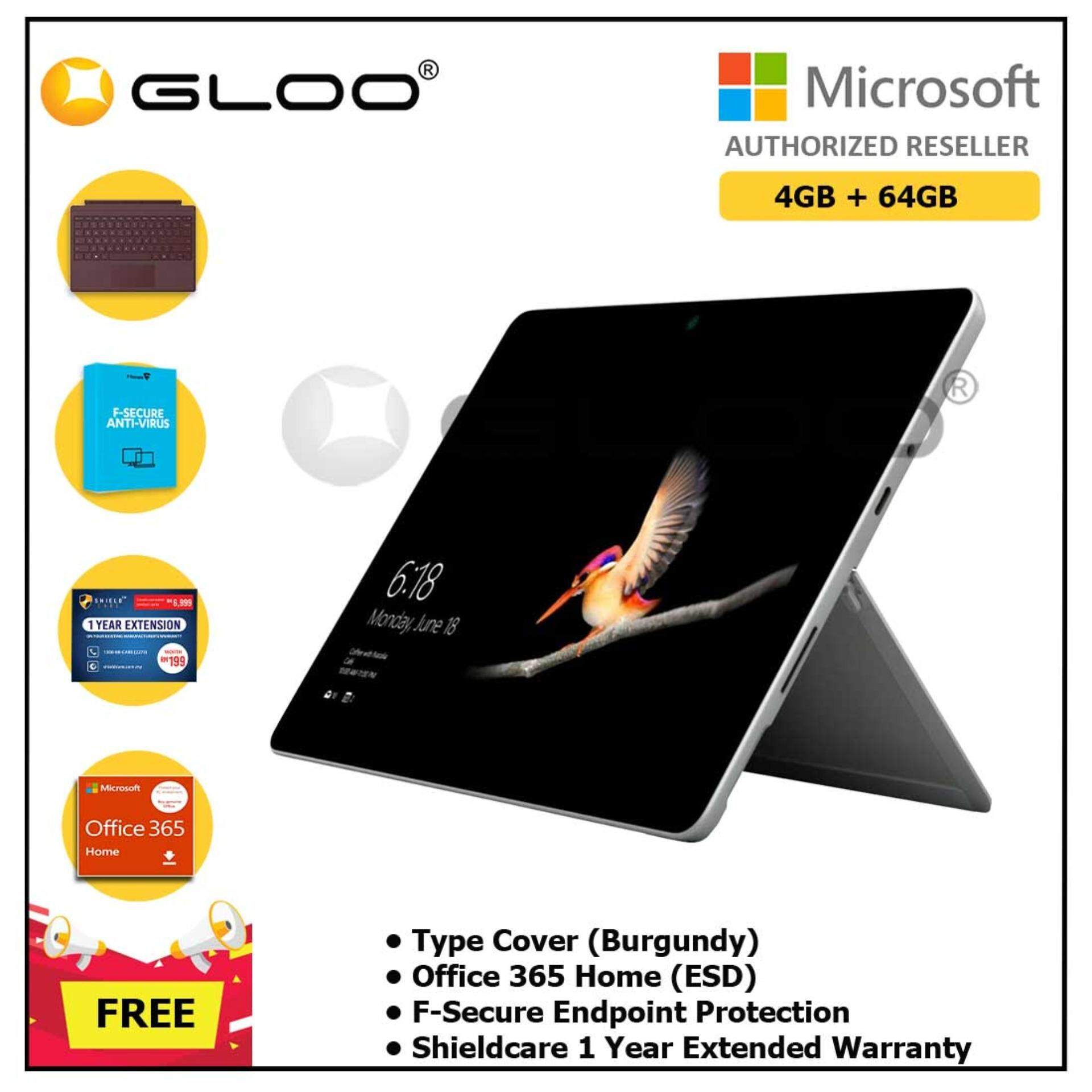 Surface Go Y/4GB 64GB + Surface Go Type Cover Burgundy + Shieldcare 1 Year Extended Warranty + F-Secure EndPoint Protection + Office 365 Home ESD