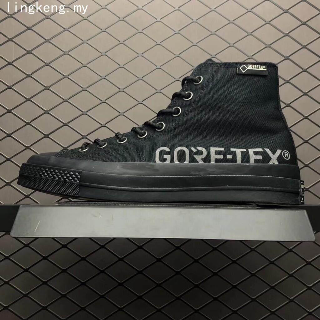 พังงา ผู้ชายกลางแจ้งรองเท้าผ้าใบกันน้ำ Converse x Gore - Tex ผู้หญิงสีดำรองเท้าปีนเขา