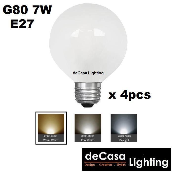 4Pc E27 G80 7W LED Frosted Globe Bulb for Pendant Light Ceiling Lamp Decasa Lighting Outdoor Light Globe Led (LY-G80-7W-E27)