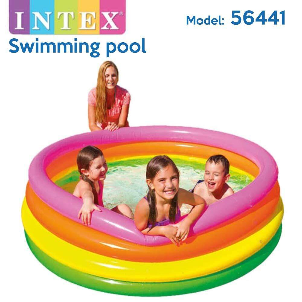 INTEX 56441 Rainbow 4 Rings Swimming Pool Baby Swimming Pool Kids Pool Kolam Renang Kanak-Kanak (187cm x 46cm)