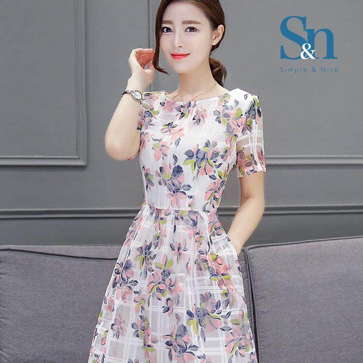【SIMPLE & NICE JUMPSUIT COLLECTION】Malaysia Charming Fashionista Women / Female Floral Design Knee Length Short Sleeves Comfortable Material Dress (White / Size : M-3XL)