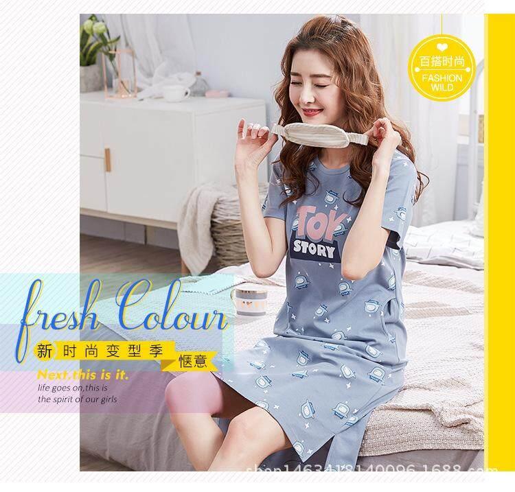 Plus Size Pure Cotton Pregnant Maternity Women Short Sleeve Sleepwear Pajamas Dress Cute Cotton Pajamas Nightwear Dress