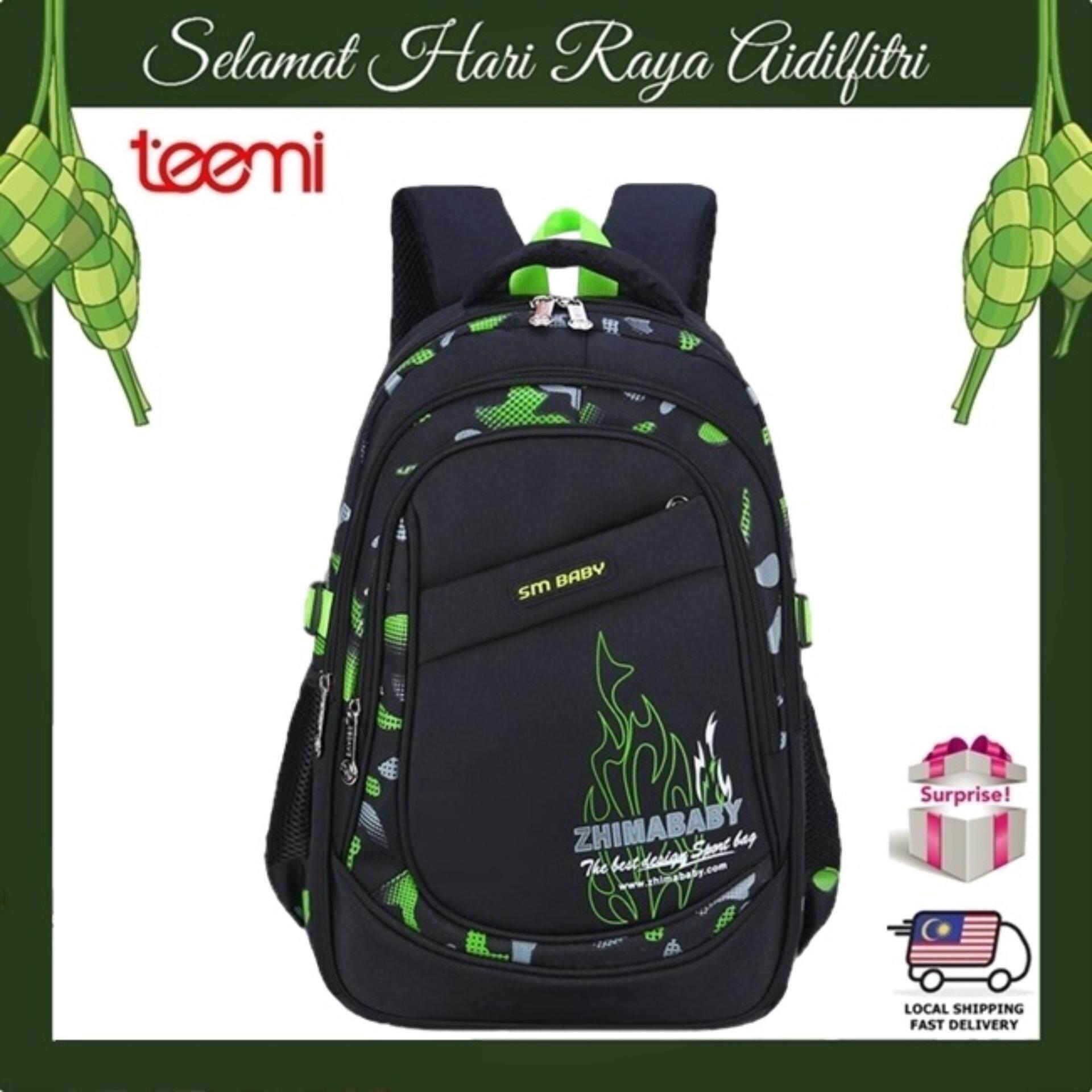 TEEMI Neon Framed Primary Secondary Nylon Water Resistant Orthopedic School Bag Kids Children Backpack - Green