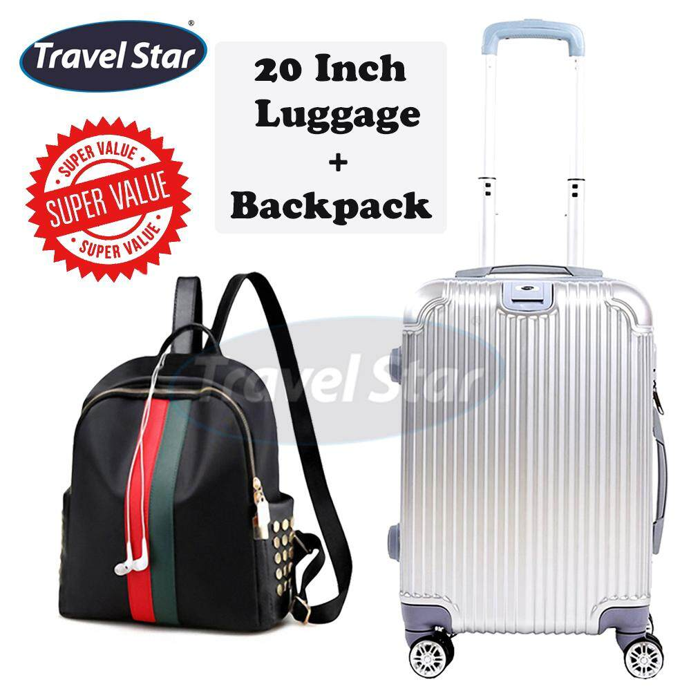 Bundle : TRAVEL STAR QZ001 Elegant 20 Inch Hard Case Luggage Bagasi With External Charging Port + SoKaNo Trendz Korean Style SKN766 Nylon Backpack With Rivet Design Handbeg Wanita