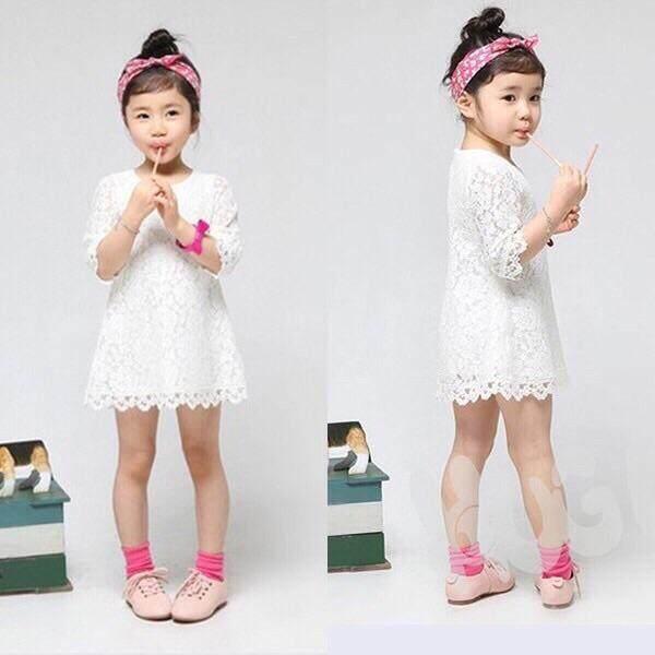 Kids Girl Sleeves Princess Flowers Lace Summer Dress