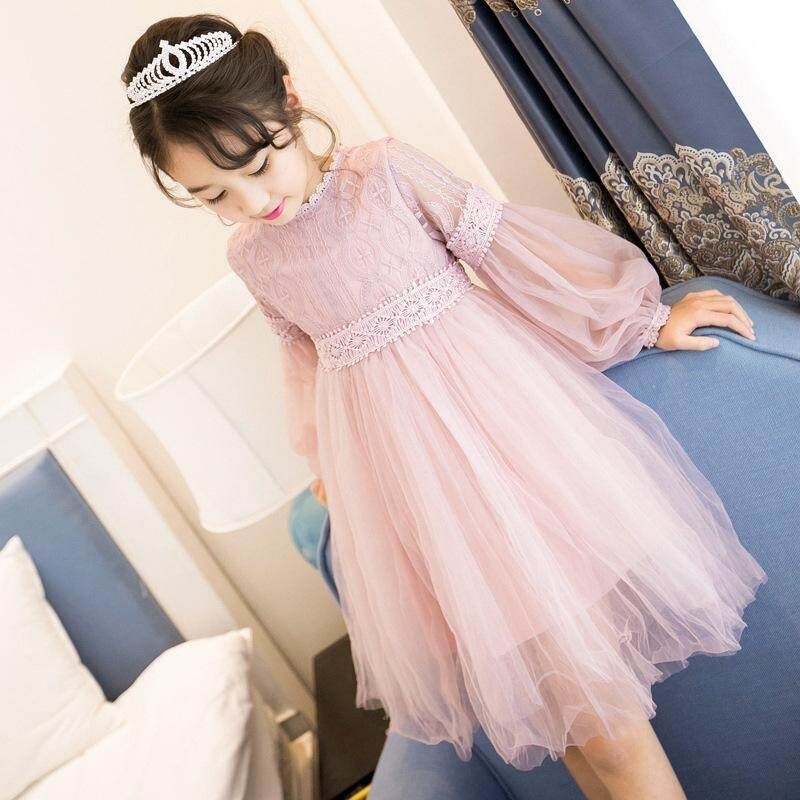 Kids Girl Lantern Sleeve Lace Dress