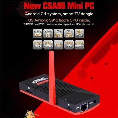 โปรโมชั่นพิเศษ  พิษณุโลก CSA95 Android 7.1 Amlogic S912 2 + 32G Octo - core RJ45 ดองเกิลโทรทัศน์คอมพิวเตอร์ขนาดเล็ก 5.8G WiFi 4.1 กล่องทีวี