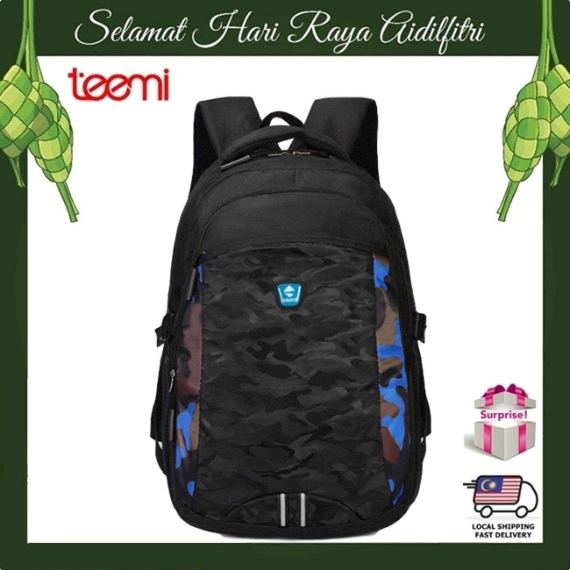 TEEMI Unisex Army Camouflage Forest Stripe Printing Nylon Laptop Backpack Casual Teen School College Travel Business Bag - Blue