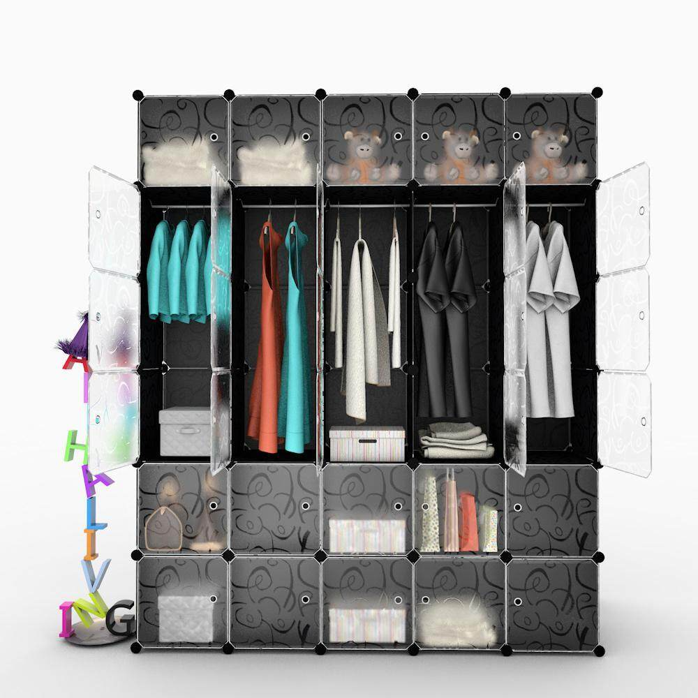 Alpha Living LRA0064BK 30 Translucent Cube Black Stripe DIY Wardrobe with 5 Hanger Bar (Size 181 x 37 x 216 cm)