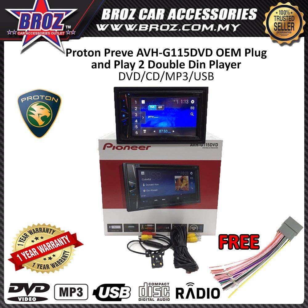 "Proton Preve Pioneer AVH-G115DVD OEM Plug and Play 6.2"" Double Din XNRC PIONEER COLOR"