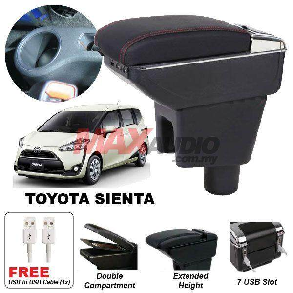 [FREE GIFT] TOYOTA SIENTA 2015 - 2018 Premium Quality Adjustable Black Leather With Red Stitch Arm Rest with USB Charger Extension & Cup Holder