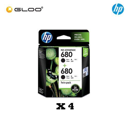 [4 Units] HP 680 Twin Pack Black Original Ink Advantage Cartridge X4E79AA