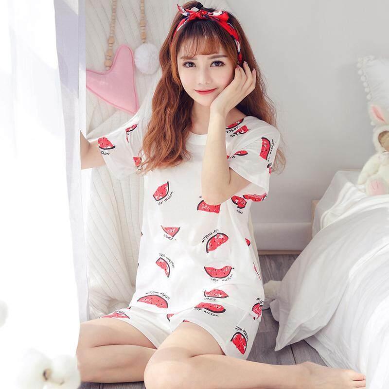 【SIMPLE & NICE】Korean Fashionista Women Fashion Cute Logo Design Casual Wear Pjyamas Shirt & Pants Sets (Size: M-XXL)