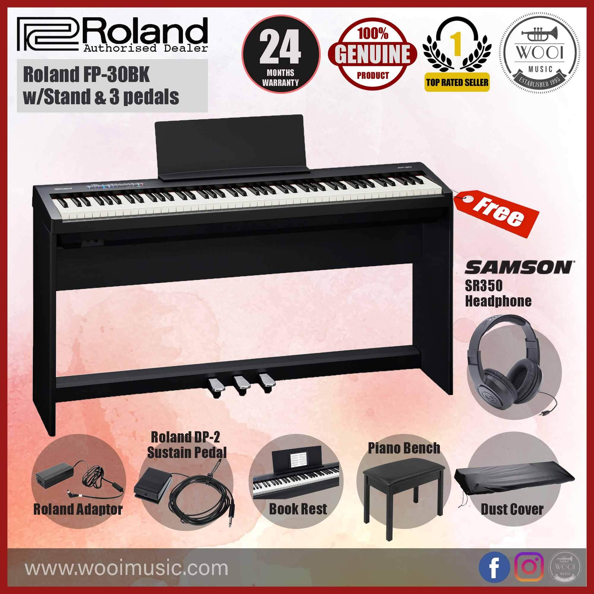 Roland FP30 Digital Piano 88 keys with Stand & Pedal Board (Black)