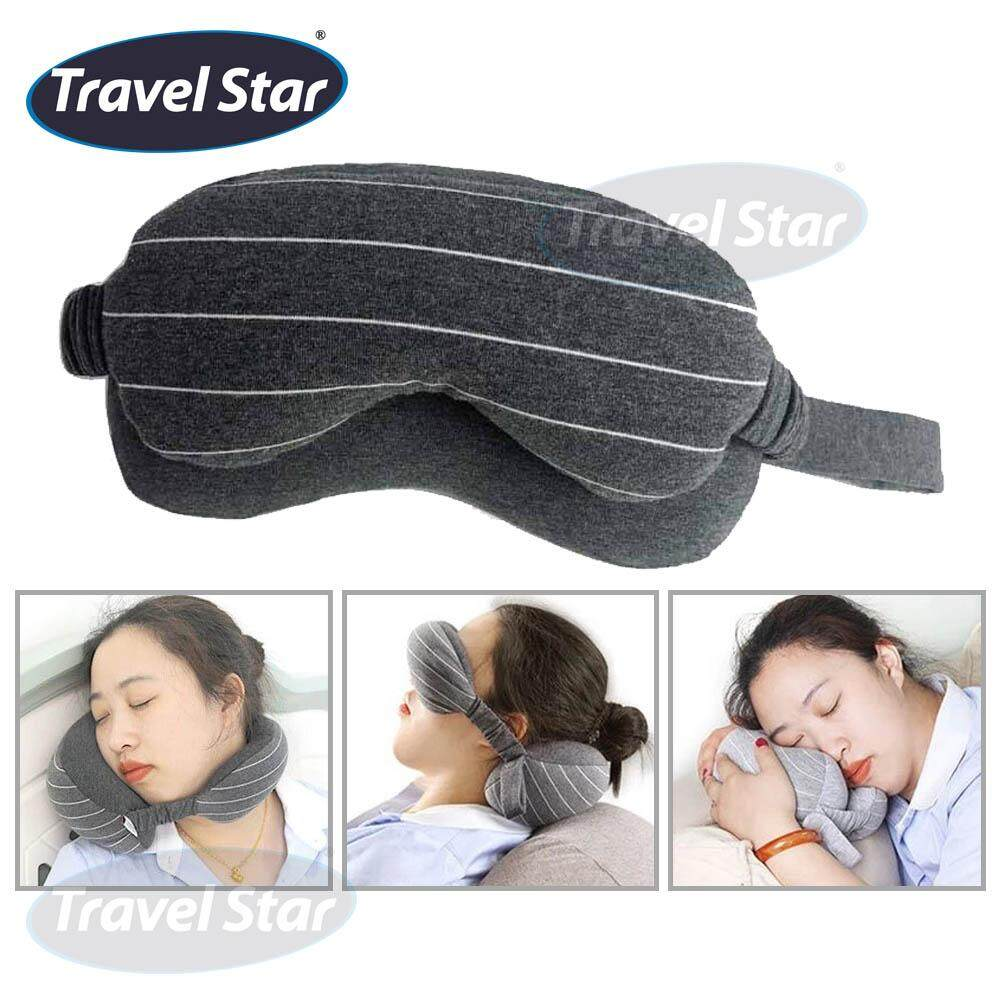 Travel Star TP002 Travel 2 In 1 Soft Cotton Comfortable Micro Beans Travel Pillow with Eye Mask