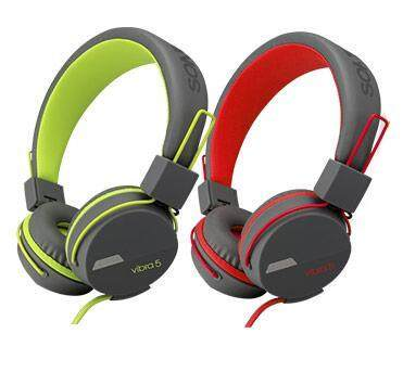 Sonic Gear Vibra 5 Stereo On Ear Headphone 40mm Driver Wired Cable 1.5m with Built-in Mic and In-line Control (Red / Grey, Green / Grey Version)