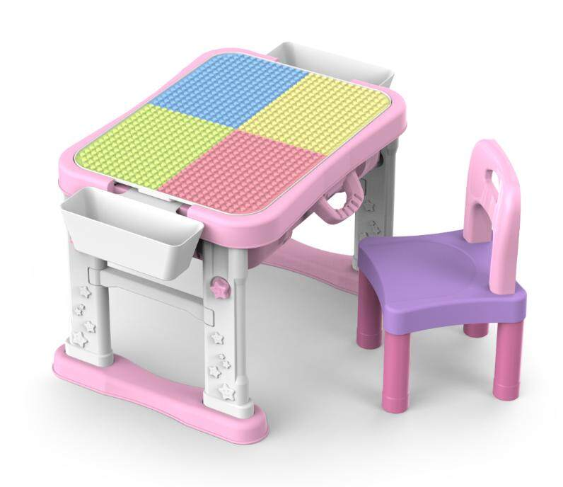Spring Flower 6 IN 1 kids learning folding building blocks study table with chair